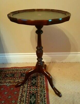 Antique style octogonal pie crust wine side table with green leather inlaid top