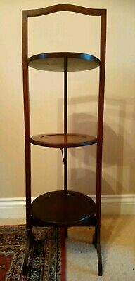 Victorian Antique Mahogany Folding Three Tier Cake Stand Wotnot Good Condition
