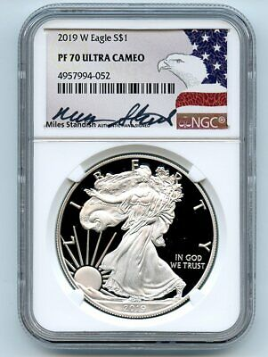 2019 W $1 American Proof Silver Eagle NGC PF70UCAM Miles Standish