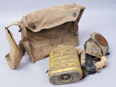 Estate Found United States Soldier WWI Gas Mask w Canvas Carrying Satchel