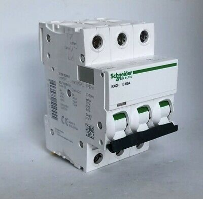 Schneider Acti9 iC60H 63Amp Type B 3phase 415volt MCB New No Box