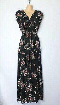 Apricot black, pink & yellow floral empire-waist puff-sleeve maxi dress, 14-16