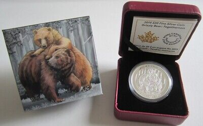 Canada 20 Dollars 2015 Grizzly Bear Togetherness 1 Oz Silver