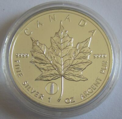 Canada 5 Dollars 2012 Maple Leaf Leaning Tower of Pisa Privy 1 Oz Silver