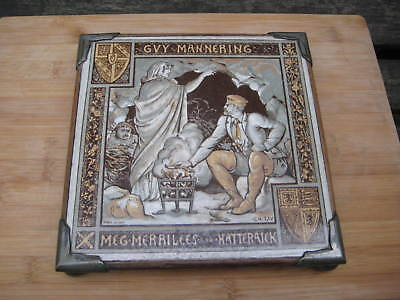 Victorian Minton Moyr Smith Guy Mannering Waverley Novels 8 Inch Tile Hotplate