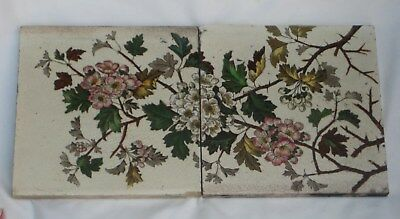 Two Panel Of English Period Tile Colourful Flower Design