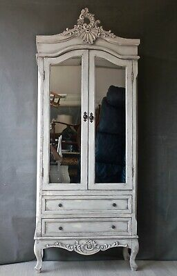 small french wardrobe armoire shabby mirrored mirror children child's painted