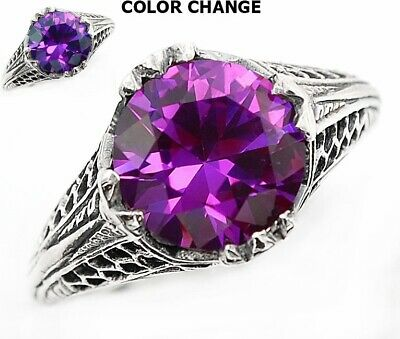 3CT Alexandrite 925 Solid Sterling Silver Vintage Style Ring Jewelry Sz 6, FL4