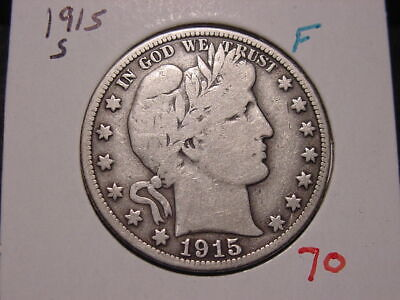 1915-S Barber Half Dollar Fine Popular Better Date Coin Nice!