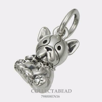 AUTHENTIC Pandora Sterling Silver Bulldog Puppy Dangle Bead 798008EN16 *NWT