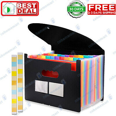 24 Pockets Expanding File Folder With Cover Accordion Organizer A4 Letter Size