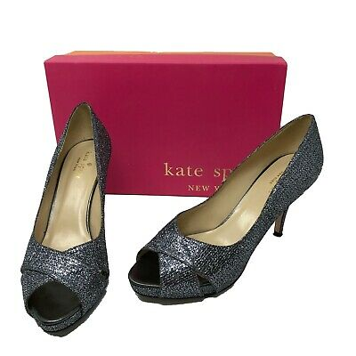 5ebb68443b24 Kate Spade Billie Women s Silver Metallic Glitter Peep Toe Pumps Heels  Shoes 8