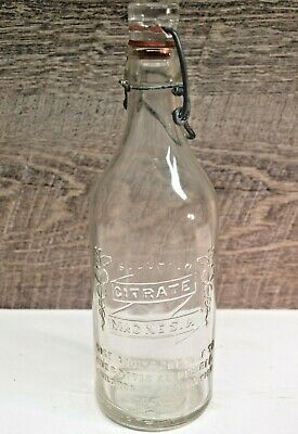 Antique Citrate Magnesia Embossed Clear Glass Bottle w/ Glass Stopper