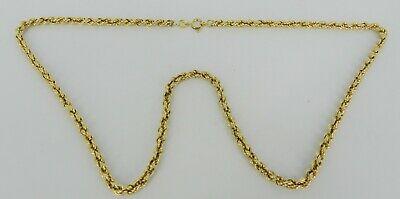 """14K Yellow Gold 20"""" Long Chain Necklace 3.2Mm Twist Rope 9.5 Grams"""