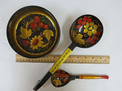 Vintage Russian hand painted wooden bowl & two spoons.
