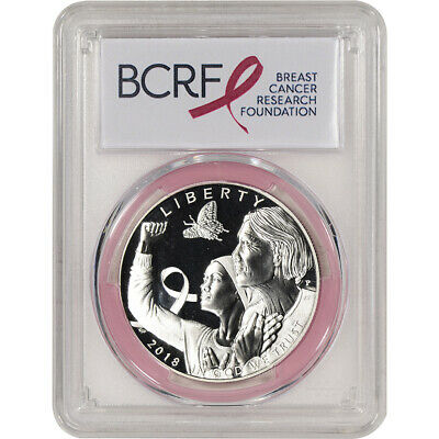2018-P US Breast Cancer Commem Proof Silver Dollar PCGS PR69 First Strike Pink