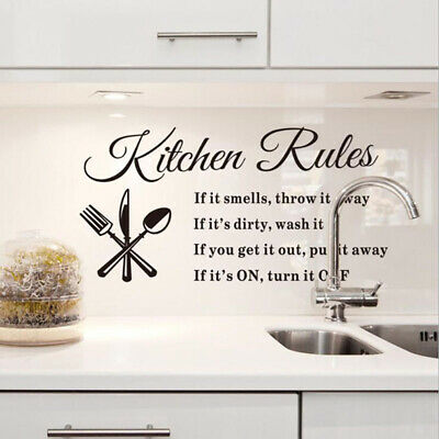 Kitchen Rules Wall Decal Quote Removable Pantry Sticker Art Decor Sign Art H