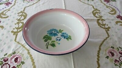 Vintage Enamel  Ware White & Pink with Blue Flowers Basin / Bowl  Navy Border