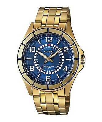 Casio Blue Dial Date Gold-Tone Stainless Steel Men's Watch Mtf-118G-2A New