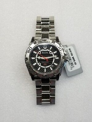 Bulova Precisionist Gray Carbon Fiber Dial Date St.steel Men's Watch 96B156 New