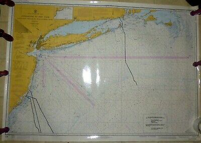 """Nantucket to Five Fathom Bank Telephone Cable Map 34"""" X 48"""" Laminated Map"""