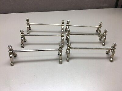 Set of 6 Vintage Silver Plate Knife Rests Andirons with Pig Legs/Hooves