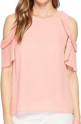 9eea2116398 CeCe NEW Pink Women's Size Medium M Cold-Shoulder Pleated Blouse $79 #252