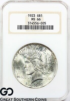 1923 Peace Dollar NGC MS ** Old Fatty Holder, Strong Cartwheel Mint Luster!