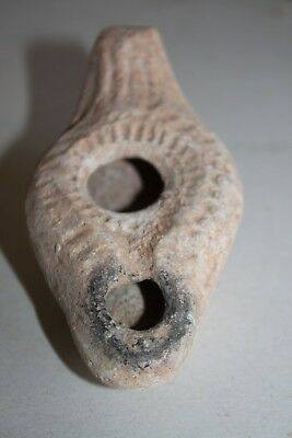 ANCIENT ROMAN POTTERY OIL LAMP 4/5th CENT AD TERRACOTTA