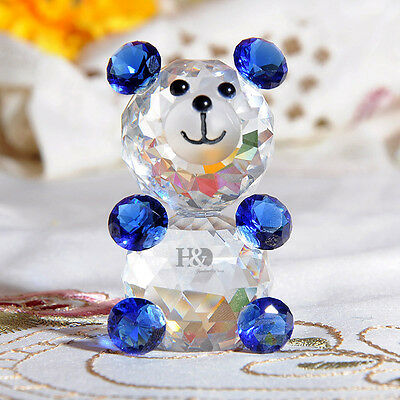 Blue Glass Crystal Paperweight Animal Figurines Bear Collectibles Ornament Gift