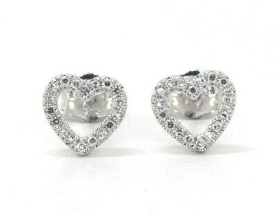 0.90 Ct Round Cut Diamond Heart Shape Stud Earrings 14K White Gold Over