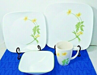 Corelle Square Vitrelle 16-Piece Dinnerware Set, Service for 4, Buttercup MINT!