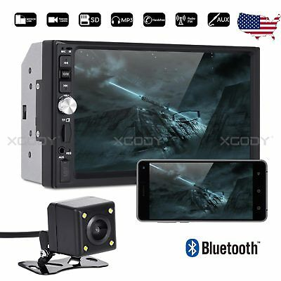 "7"" Bluetooth Car Stereo Radio MP5 Player 2 Din USB AUX FM Handsfree 4LED Camera"