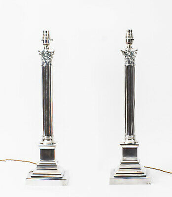 Pair  Silver Plated Corinthian Column Table Lamps