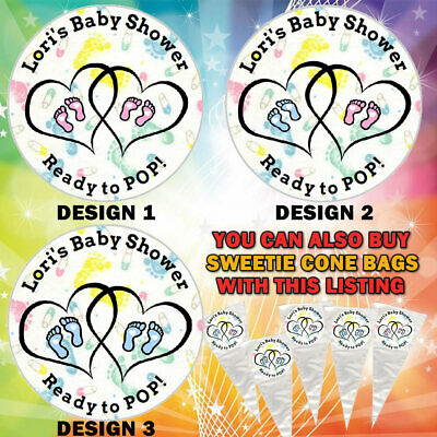 Personalised Ready To POP Baby Shower Stickers Party Bag Sweetie Cones Labels