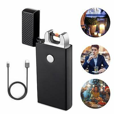 Electronic USB Lighter Flameless Dual Arc Plasma Rechargeable Windproof Black