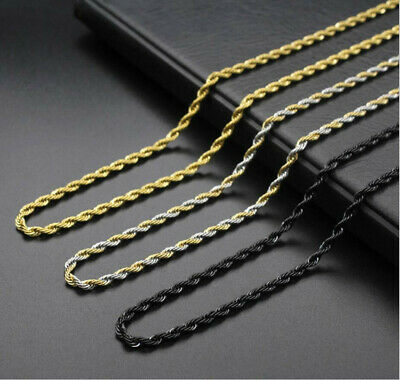 Unisex 316L Stainless Steel Plated Sliver Black 2.5 mm - 5mm Rope Chain Necklace