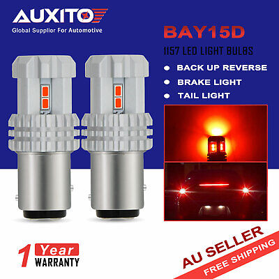 2X AUXITO 1157 BAY15D RED LED Brake Stop Tail Light 3020 12-SMD Bulbs Globe