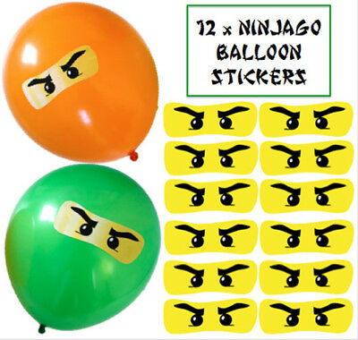 12 x LEGO NINJAGO Party Balloon Large Eye Stickers UK Party Bags/Decorations