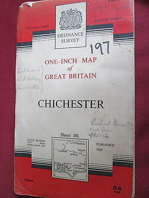 Ordnance Survey One inch map Chichester Sheet 181 paper pub. 1960 7th series
