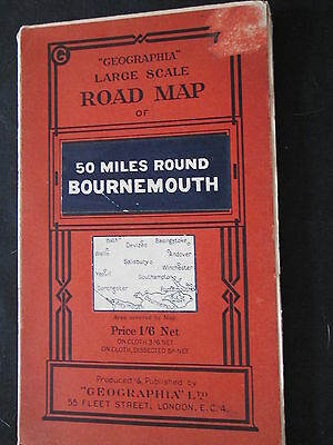 Geographia Large scale Road Map Paper 50 mls round Bournemouth 1930's?