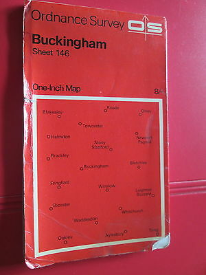 Ordnance Survey One inch map  Sheet 146 Buckingham  1968  red cover