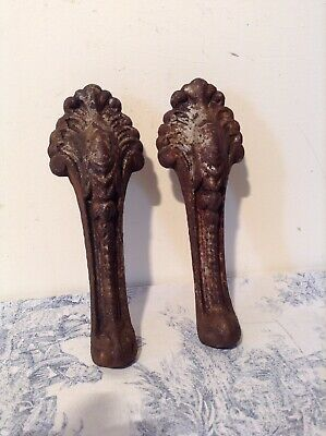 Pair of Vintage French Cast Iron Ball & Claw Bath Feet Legs (2585)