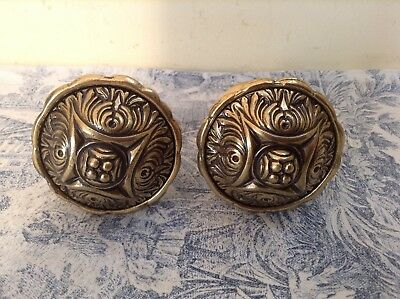 Vintage French Brass Finials - Curtain Pole Ends / Tie Backs / Door Knobs (2469)