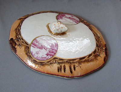 ANTIQUE 18th Century Chinese Export LID for COVERED DISH Hand Painted Scenes