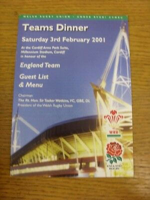 03/02/2001 Rugby Union: Wales v England - Teams Dinner Guest List & Menu [At Car