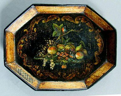 """Small ANTIQUE Hand Painted 8"""" PAPIER MACHE TRAY circa 1850"""