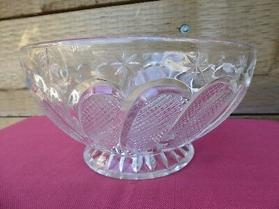 Beautiful Vintage Heavy Cut Glass Platter Salad Fruit Bowl Table Center Piece