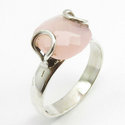 faceted Rose Quartz Prong Setting Finger Ring Size 8 Bijoux 925 Solid Silver