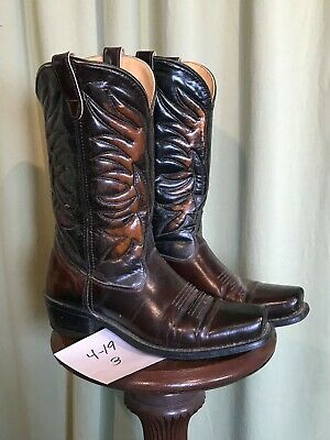 8f80b83d47f MENS VINTAGE BROWN LEATHER ROCKABILLY/FLAT TOP WESTERN/COWBOY BOOTS ...